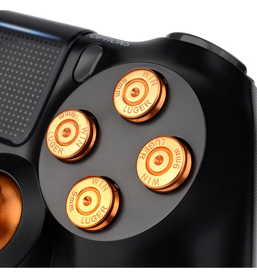 Aluminium Aktionstasten in Bullet-Optik für PS4 Controller - gold
